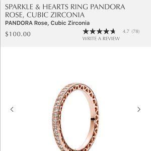 Pandora Rose Sparkle & Hearts Ring